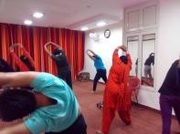 Aashish Shukla taking a yoga session