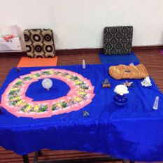 Tarot table with crystals